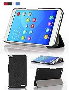 PopSky全4色Huawei MediaPad X1/X2 7.0 (Honor X1/Honor X2)専用保護ケース シルク紋超薄型 超軽量三つ折 マグネット開閉式PCカバー ,高級PUレザーケース・カバー (ブラック)