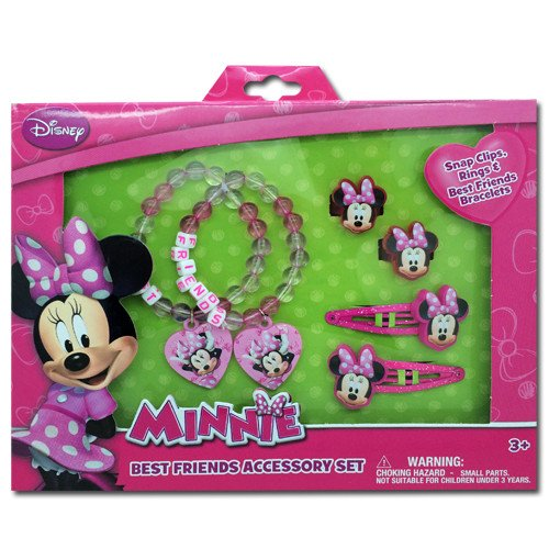 Minnie Mouse Box Set with Snap Clips, Beaded Charms Bracelets, & Rings - 1