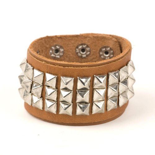 Brown spikes leather bracelet cool wristband cuff goth by 81stgeneration