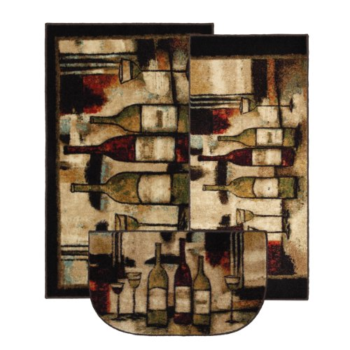 3 Pc Accent Rug Set with Wine and Glasses Motif