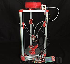 [Sintron] Ultimate 3D Drucker Printer Kossel Mini Full Complete Kit with Auto level + Bowden hotend + MK8 Extruder + RAMPS 1.4 + LCD2004 + MEGA 2560 + A4988 + NEMA 17 Motor + Endstop + Round Aluminum MK3 Heatbed + Filament for RepRap Rostock Delta