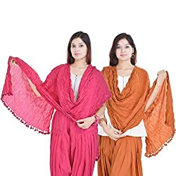 Kalrav Solid Light Pink and Orange Cotton Dupatta Combo