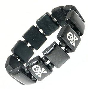 Elasticated Wooden Pirate Skull & Crossbones Bracelet / Wristband