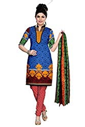 Riddhi Dresses Women's Cotton Unstitched Dress Material (Riddhi Dresses 108_Multi Coloured_Free Size)