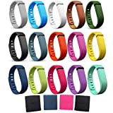 i-smile® 15PCS Replacement Bands with Metal Clasps for Fitbit Flex / Wireless Activity Bracelet Sport Wristband / Fitbit Flex Bracelet Sport Arm Band (No tracker  Replacement Bands Only) & 2PCS Silicon Fastener Ring For Free (Set of 15  Large)
