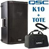 QSC K10 10-Inch 1000 Watt Powered PA Speaker and Tote Bag - Bundle