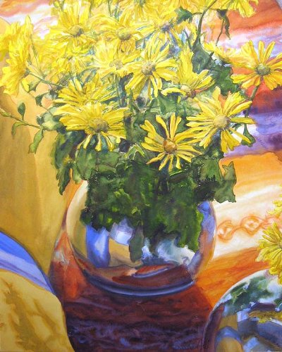 Yellow Mums Watercolor Painting Of Flowers front-1057874