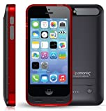 Alpatronix BX120 Apple MFi Certified & Approved Extended Protective Battery Case for iPhone 5S & iPhone 5 with Ultra Slim Removable Rechargeable External Battery Charging Case and Built-in Stand: iOS 7+ Compatible - 2400mAh Built-in Battery / Slimfit / Li