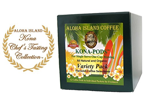 Senseo Pods, Chefs Tasting Size Variety Pack Of Flavored Kona Blend Coffee, 12 Flavored Pods, Reusable Pod Adapter Is Available For K-Cup Brewing front-7423
