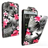 STYLEYOURMOBILE {TM} FOR LG L7 P700 PU LEATHER MAGNETIC FLIP CASE COVER POUCH + FREE STYLUS (PINK FLOWER ON DARK GREY)