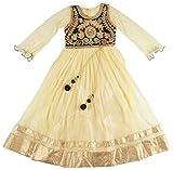New Kings Collection Girls' Silk & Net Dress (9, Cream, 6-7 Years)