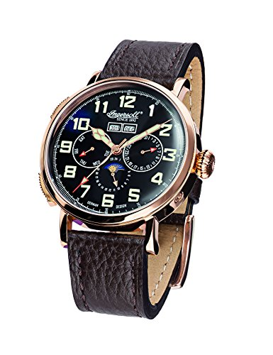 Ingersoll Unisex Automatic Watch with Black Dial Analogue Display and Black Leather Strap IN1917RBK