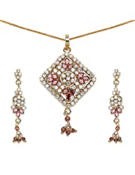 14.00 Grams Red Cubic Zirconia & White Cubic Zirconia Gold Plated Brass Pendant Set