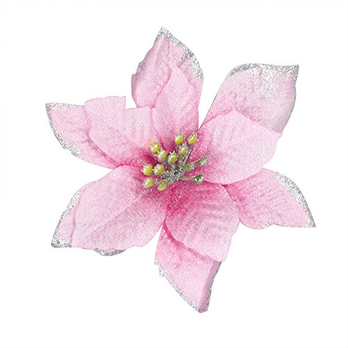 6Pcs 5 Inch Glitter Artificial Wedding Christmas Flowers XMAS Tree Wreaths Decor Ornament Pink