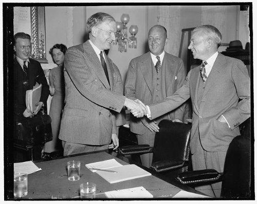 Photo: Senator Burton K Wheeler,Chairman,Allen Kirby,Robert R Young,shaking hands,1937 (Kirby And Allen compare prices)
