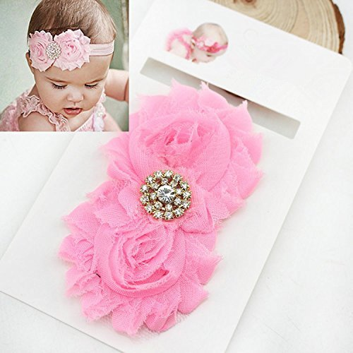 EQLEF® Fasce di Bella strass Rose neonata con chiffon del petalo del fiore (confezione da 5)