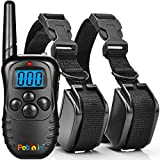 Dog Training Collar With Remote for 2 Dogs by PethinTM - 330 Yards Remote E-collar - Rechargeable and Waterproof - Strong 100 Level Electronic Vibration + 100 Level Static Shock Control with Safe Beep - for Medium or Large Pet & Dogs - Backlight LCD Screen