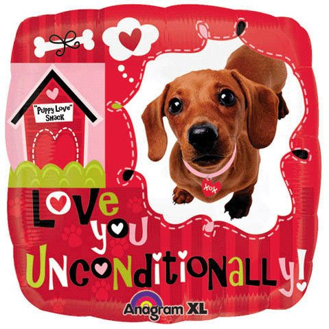 "Love You Unconditionally Dog Square 18"" Mylar Balloon"