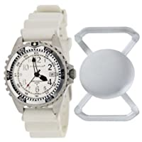 New St. Moritz Momentum M1 Twist Women's Dive Watch & Underwater Timer for Scuba Divers with Silver Bezel, White Hyper Rubber Band & FREE Watch Protector (Valued at $12.95) for Added Protection to the Glass Face of Your Dive Watch