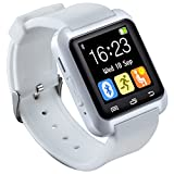HopCentury Bluetooth Smart Watch Support Android Apk Notifier Android Cellphones with Sleep Monitor Pedometer Stopwatch Anti Lost Drink/Rest Reminder, Support iPhone with Partial Functions (White)