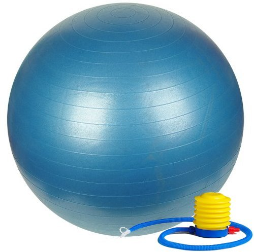Fitness Sun 75cm Exercise Ball with Foot Pump - Includes 1 Ball +1 Pump + 1 Page Instruction Chart No Dvd - No -Exercise Gym Swiss Stability Ball - For 6Ft & up Big & Tall users