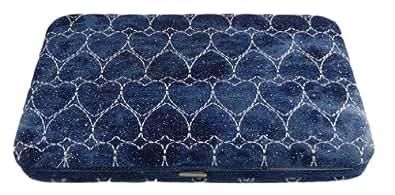 Nice Shades Ladies Flat Opera Wallet Zebra Velvet Print Clutch Credit Cards. Thick (Blue Glitter)
