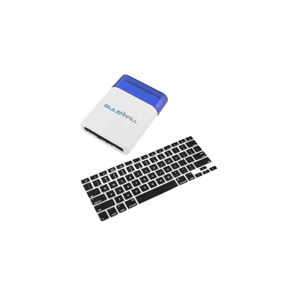 GTMax Black Keyboard Silicone Cover Skin + Mini Keyboard Brush for Apple Macbook / Macbook Pro 13 15 17