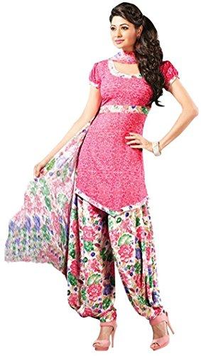 AASRI Women Pink Synthetic Printed Salwar Suit