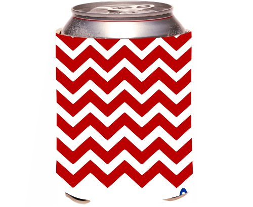 """Rikki Knight """"D Chevron Red On White With Anchor Design"""" Beer Can Soda Drinks Cooler Koozie front-620810"""