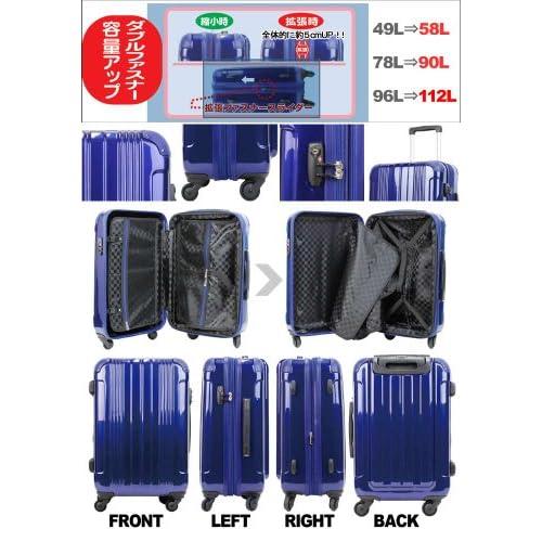 LEGEND WALKER スーツケース キャリーバッグ 4輪 TSAロック PC+ABS鏡面仕上げ 拡張機能付 軽量 96L (Black)