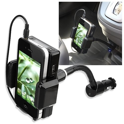 Black 7-in 1 FM Transmitter Car Kit with Holder for Motorola Atrix 4G, i886, CLIQ 2, Samsung Galaxy S 4G
