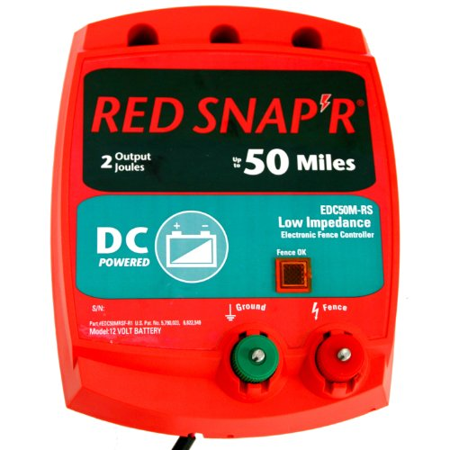 Red Snap'R Edc50M-Rs Battery Operated Solid State Fence Charger, 50-Mile