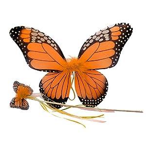 Orange Monarch Butterfly Wing & Wand Set