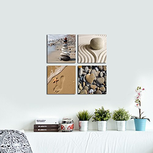 Wieco Art Romantic Beach Theme 4 Panels Modern