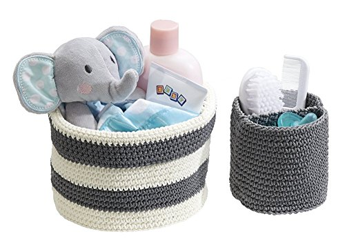 mDesign Knit Baby Nursery Closet Organizer, Bins for Lotion, Pacifiers, Bibs, Toys - Set of 2, Small, Gray/Ivory