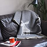 Moose Design Blanket in Grey and White - 100% New Zealand Lambs Wool