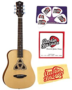 Luna Safari Series Trinity Travel-Size Dreadnought Acoustic Guitar Bundle with Strings, Pick Card, and Polishing Cloth