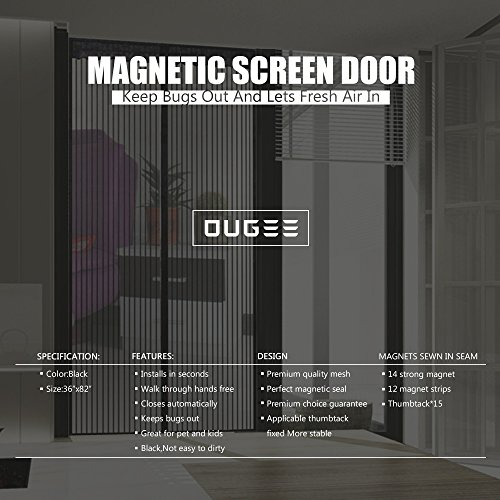 Ougee magnetic screen door mesh curtain for sliding glass for Magnetic screen door home depot