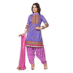Stylo Fashion Women's Un-Stitched Dress Material (Blue Pink_Free Size)