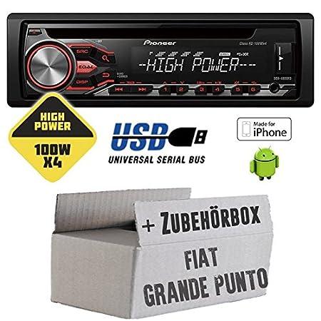 Fiat Grande Punto 199 - Pioneer DEH-4800FD - HighPower 4x100 Watt CD/MP3/USB Autoradio - Einbauset