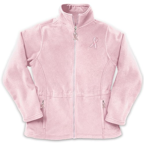 Celebrate Life Embroidered Women's Fleece Jacket: Breast Cancer Charity Apparel Gift