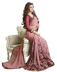 Pramukh saris Womens Georgette Printed Sari(Pink)