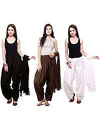 Fashion Store Combo Of Womens Solid Cotton Black ,Brown & White Best Ethnic Comfort Punjabi Patiala Salwar Bottom...