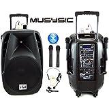 """MUSYSIC 1600 Watts Professional Portable Dual Mic Wireless Rechargeable 15"""" Speaker PA System MU-15PA"""