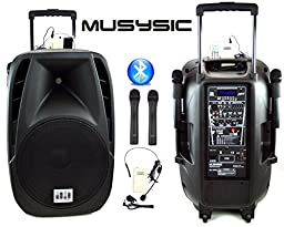 MUSYSIC 1600 Watts Professional Portable Dual Mic Wireless Rechargeable 15\