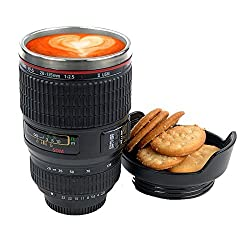 247TeckSoukTM Camera Lens Thermos Stainless Steel Cup Mug Flask for Coffee or Tea (With Random Color)