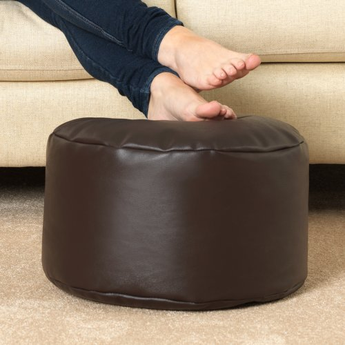 Round Footstool BROWN - Bean Bag Foot Rest