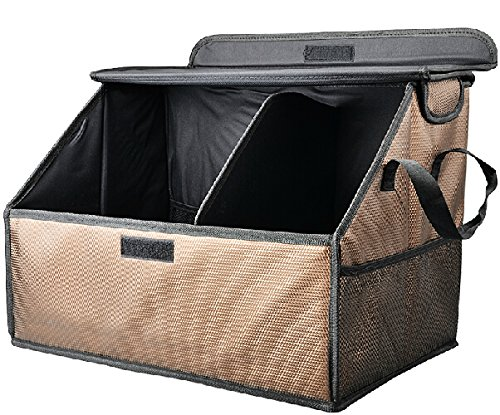 ECVISION Auto Car SUV Trunk Storage Collapsible Folding Organizer Multipurpose Foldable Cargo Storage Container Box Bag Case with Cover, Great for Travel Vocation Trip Camping (Coffee)