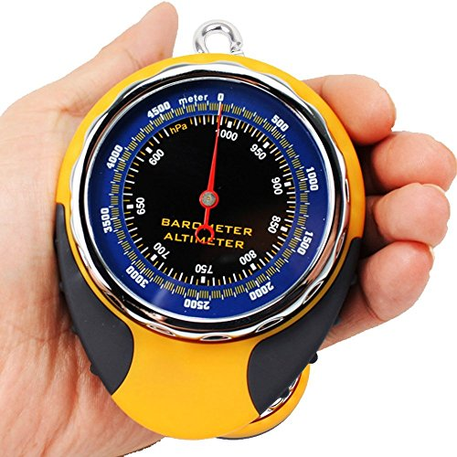 Ezyoutdoor 4 in1 Digital Altimeter Baromete Compass Thermometer Navigator Compasses North Arrow Carabiner for Travel Backpacking Picnik Climbing Outdoor Camping