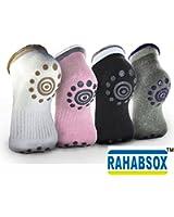 BEST Non Slip Skid Yoga Pilates Socks with Grips Cotton for Women Pack of 4